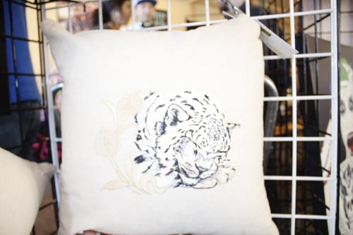 Digital Embroidery Leapard Print Pillow