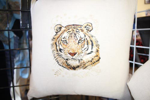 Hand Embroidery Tiger Print Pillow